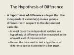 the hypothesis of difference