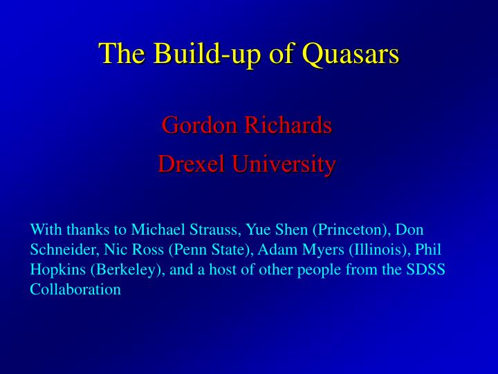 the build up of quasars n.