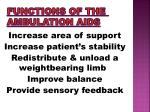 functions of the ambulation aids