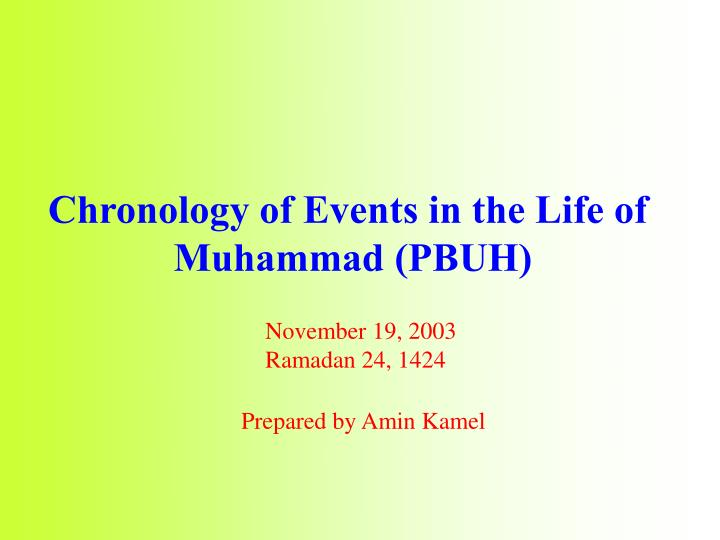 Chronology of Events in the Life of