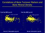 correlations of bone turnover markers and bone mineral density