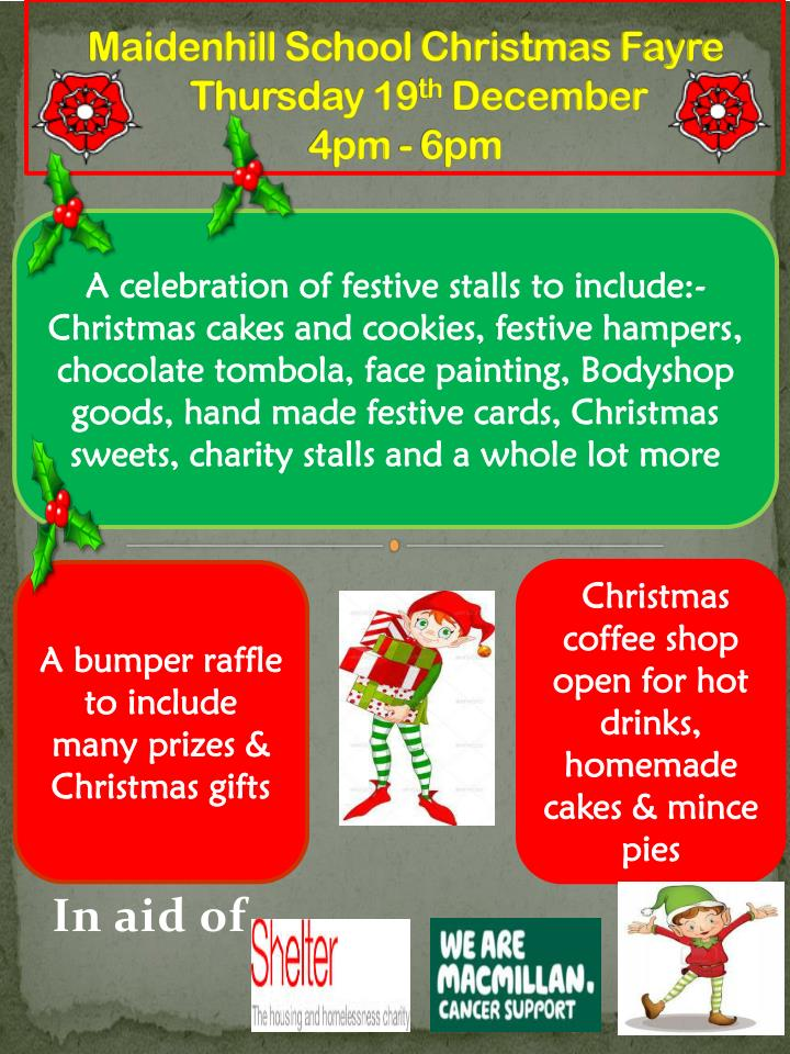 maidenhill school christmas fayre thursday 19 th december 4pm 6pm n.