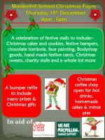 maidenhill school christmas fayre thursday 19 th december 4pm 6pm