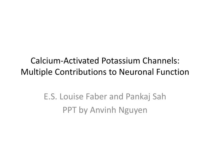 calcium activated potassium channels multiple contributions to neuronal function n.
