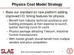 physics cost model strategy