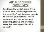 ahs boys soccer community