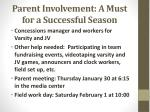 parent involvement a must for a successful season