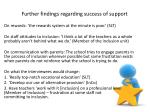 further findings regarding success of support