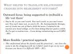 what helped to translate relationship changes into reablement outcomes