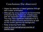 conclusions for observers