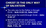 christ is the only way of salvation