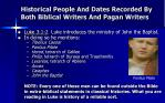 historical people and dates recorded by both biblical writers and pagan writers