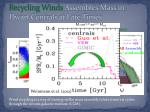 recycling winds assembles mass in dwarf centrals at late times