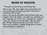word of mission