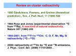 review on cluster radioactivity