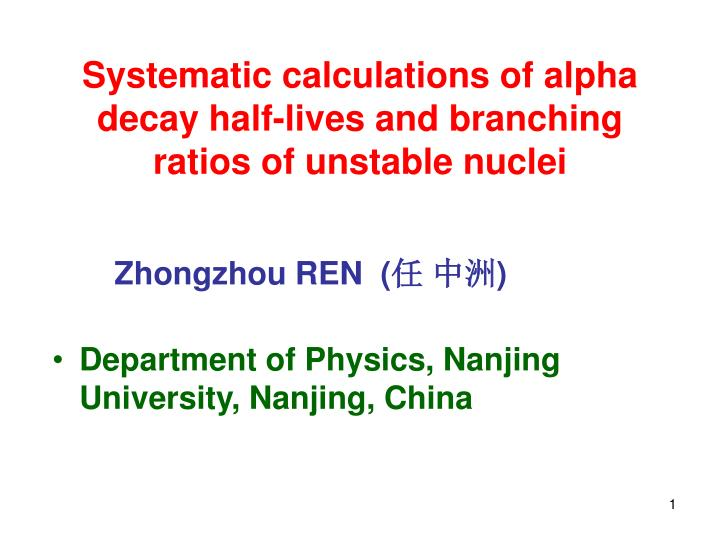systematic calculations of alpha decay half lives and branching ratios of unstable nuclei n.