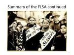 summary of the flsa continued