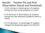 results teacher pre and post observation social and emotional