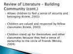 review of literature building community cont