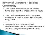 review of literature building community