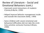 review of literature social and emotional behaviors cont