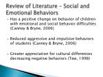 review of literature social and emotional behaviors