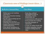 classroom uses of weblogs more ideas