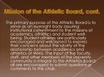 mission of the athletic board cont