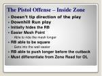 the pistol offense inside zone
