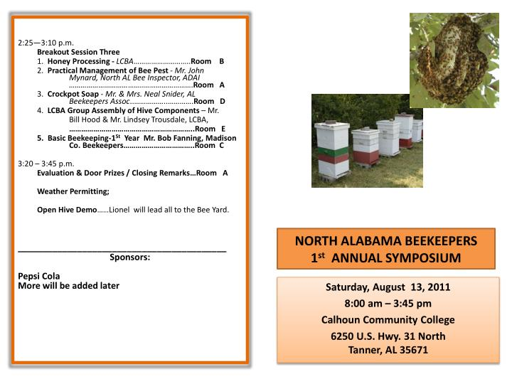 north alabama beekeepers 1 st annual symposium n.
