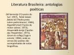 literatura brasileira antologias po ticas