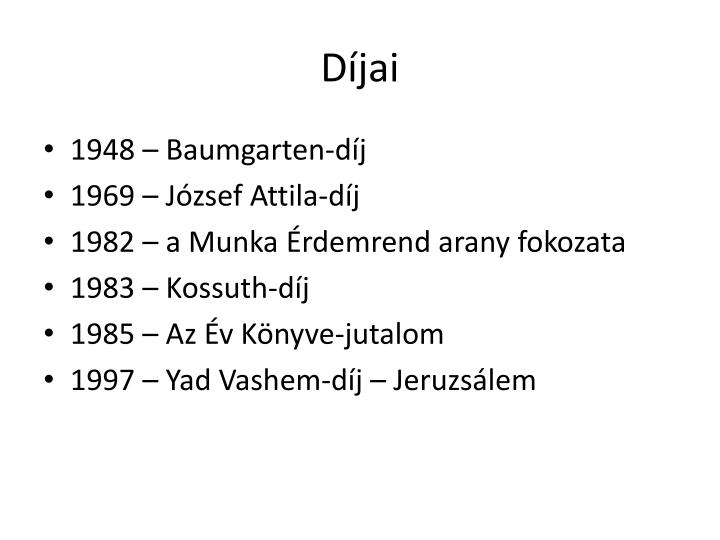 Díjai