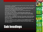 sub headings