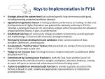 keys to implementation in fy14