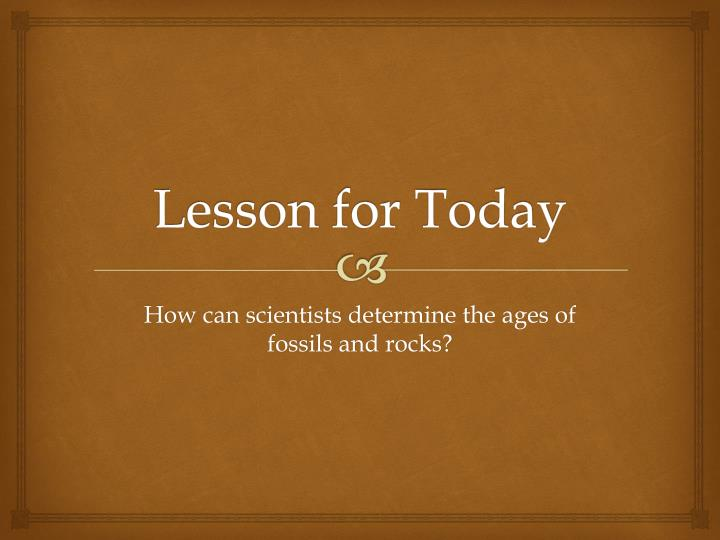 lesson for today n.