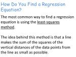 how do you find a regression equation