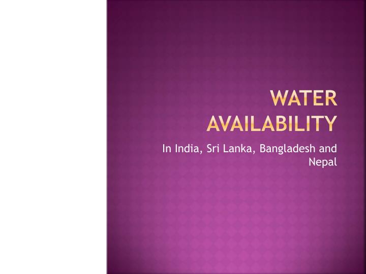 water availability n.