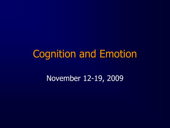 cognition and emotion n.