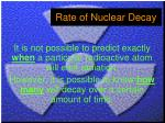 rate of nuclear decay