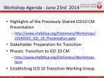 workshop agenda june 23rd 2014