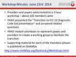 workshop minutes june 23rd 2014