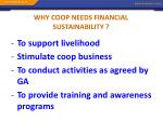 why coop needs financial sustainability
