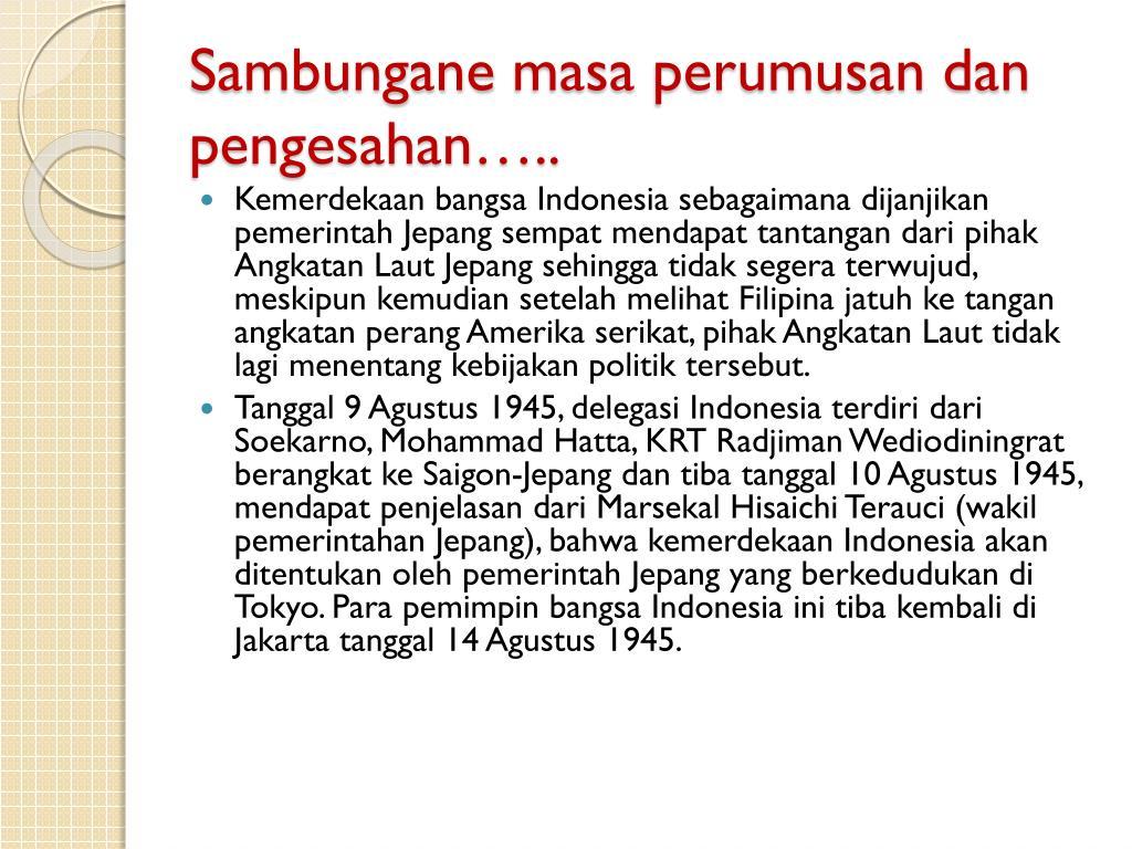 Ppt Sejarah Perumusan Dan Pengesahan Pancasila Powerpoint Presentation Id 2130203