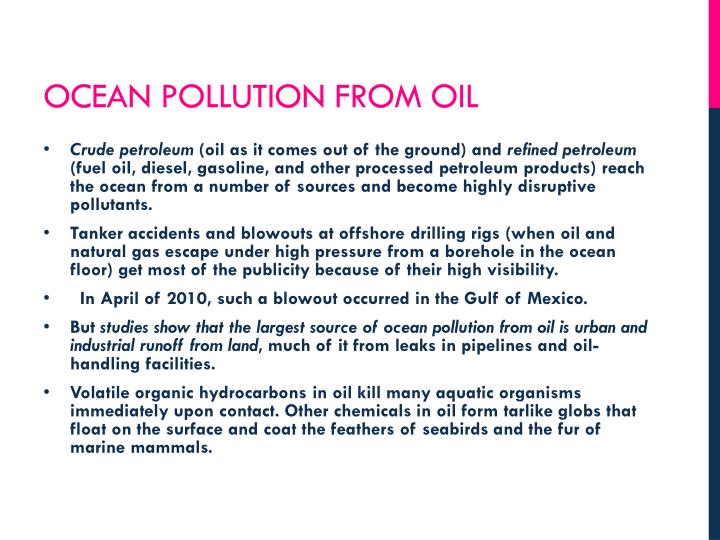 Ocean pollution from oil