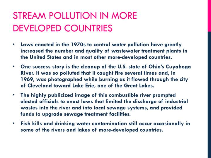 Stream pollution in more developed countries