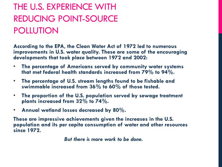 The u.s. experience with reducing point-source pollution