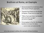 brethren at rome an example
