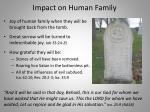 impact on human family