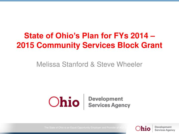 state of ohio s plan for fys 2014 2015 community services block grant n.