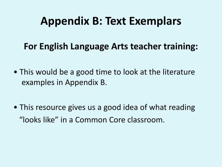 Appendix B: Text Exemplars
